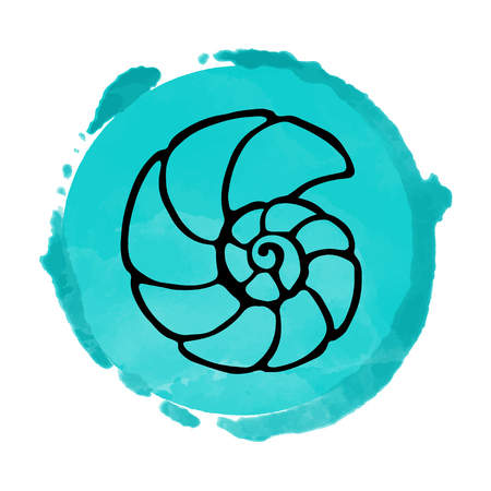 Watercolor blue circle icon isolated on white background, art logo design