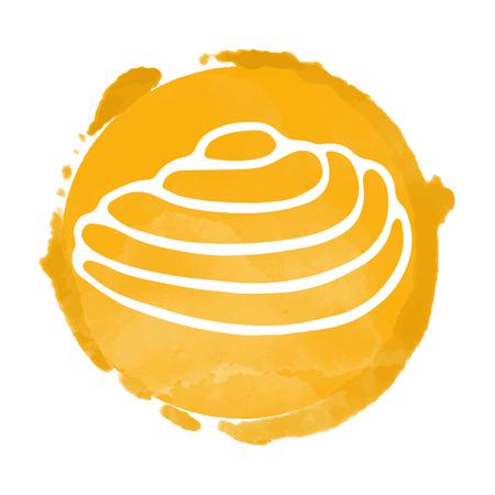 Watercolor orange and white circle icon closeup isolated on white background, art logo design
