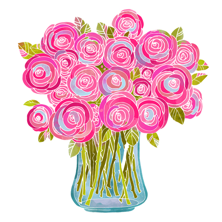 Watercolor bouquet of flowers in a vase closeup isolated on white background