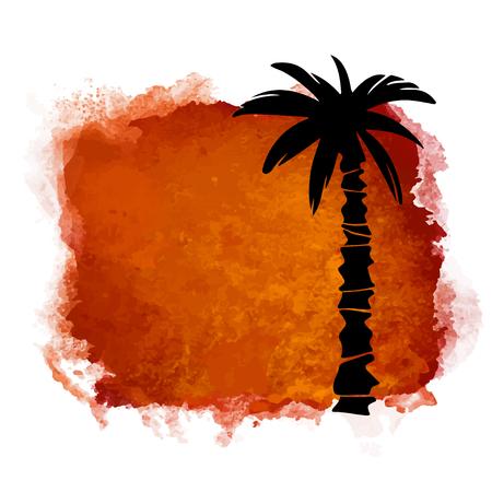Aquarel vierkante verf vlek en kokos palmboom close-up zwart silhouet. Natuur pictogram geïsoleerd op een witte achtergrond. Abstracte kunst. Logo ontwerp Logo