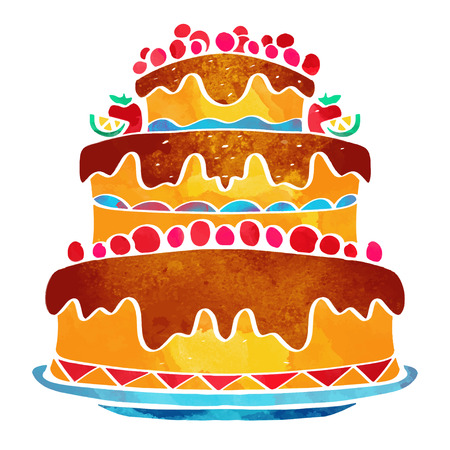 Holiday watercolor cake closeup isolated on a white background 일러스트