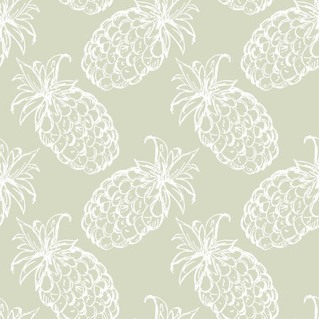 Seamless pattern with pineapples. Abstract floral repeating background. Endless print texture. Fabric design. Wallpaper