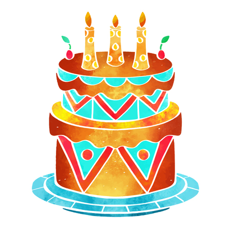 Holiday watercolor cake with candles closeup isolated on a white background