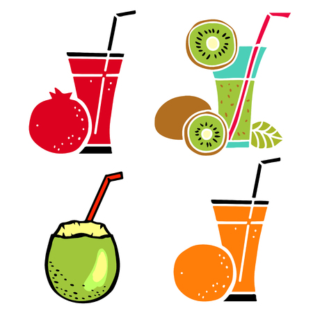 Tropical fruit cocktails, juice drink in a glass with a straw set closeup isolated on white background. Pomegranate, kiwi, coconut, orange