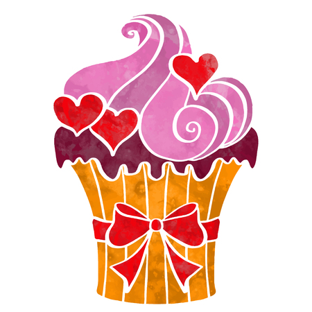 Watercolor cupcake with hearts closeup isolated on a white background