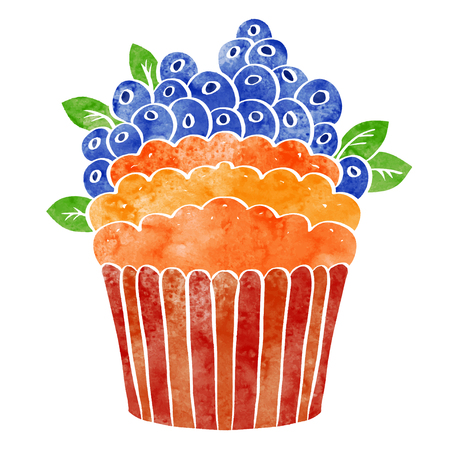 Watercolor cupcake with fruits closeup isolated on a white background