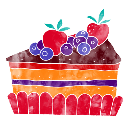 Watercolor pie slice with fruits closeup isolated on a white background