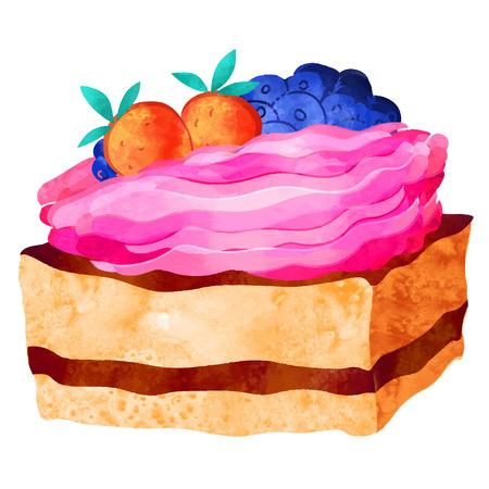 Watercolor colorful pie slice