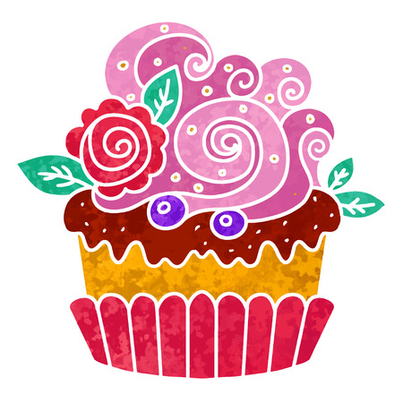 Watercolor colorful cupcake with rose and flower closeup isolated on white background 일러스트