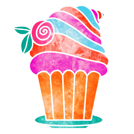 Watercolor colorful cupcake with rose flower isolated on white background