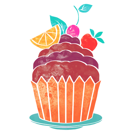 Watercolor colorful cupcake with fruits and berries isolated on white background