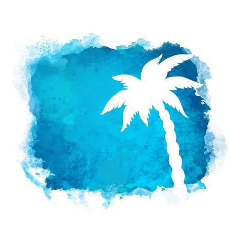 Aquarellquadratfarbenfleck und weiße Silhouette der Kokospalmennahaufnahme. Naturikone lokalisiert auf weißem Hintergrund. Abstrakte Kunst. Logo Design