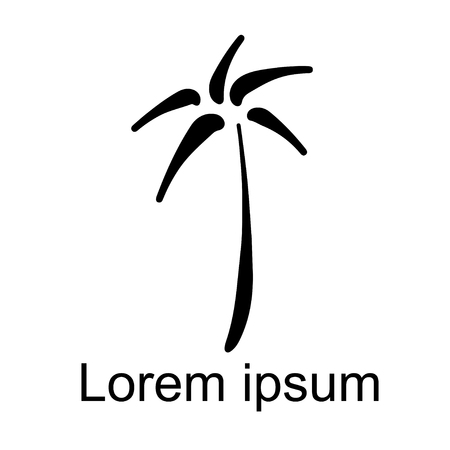 Coconut palm tree natural icon isolated on a white background, art logo design Banque d'images - 120749610