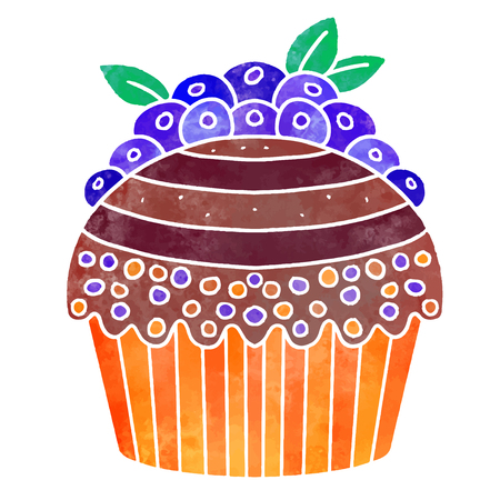 Watercolor colorful cupcake with berries