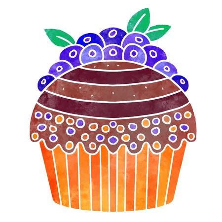 Watercolor colorful cupcake with berries 일러스트