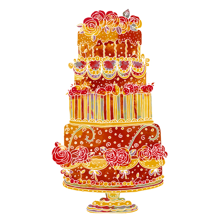 Holiday watercolor cake closeup isolated on a white background. Cake stand