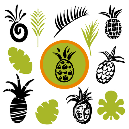 Tropical leaves and pineapples cartoon art hand drawn illustrations on white background, art logo design Banque d'images - 120749617