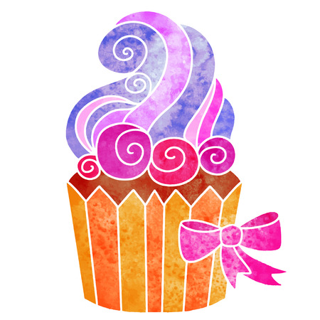 Watercolor colorful cupcake with cream and bow closeup isolated on white background