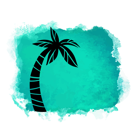 Vector watercolor green grunge geometric square paint stain with splash and hand drawn coconut palm tree closeup black silhouette. Painted frame design. Bright colors. Abstract art Banque d'images - 122799913
