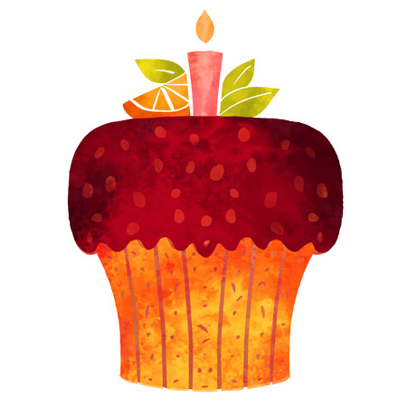 Watercolor colorful cupcake with candle and citrus fruit