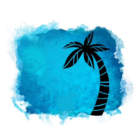 Vector watercolor blue grunge geometric square paint stain with splash and hand drawn coconut palm tree closeup black silhouette. Painted frame design. Bright colors. Abstract art