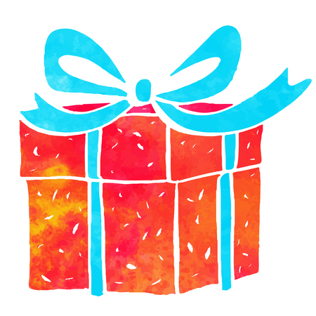Watercolor colorful gift box with blue bow closeup isolated on a white background