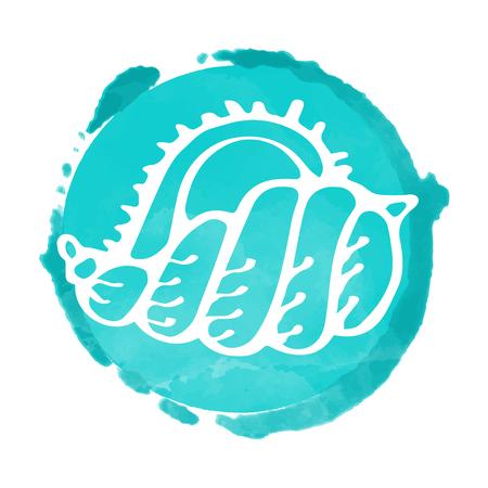 Watercolor white circle icon