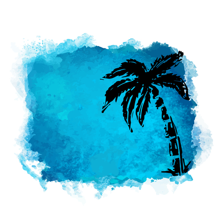 Vector watercolor blue grunge geometric square paint stain with splash and hand drawn coconut palm tree closeup black silhouette. Painted frame design. Bright colors. Abstract art Ilustração