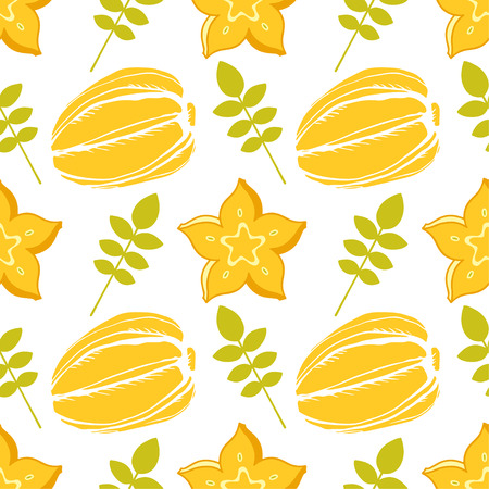 Seamless pattern with carambola, star fruit and leaves on a white background Illustration