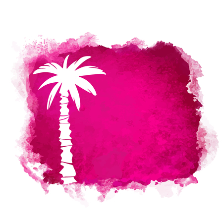 Watercolor square paint stain and coconut palm tree closeup white silhouette. Nature icon isolated on white background. Abstract art. Logo design Banque d'images - 122800034