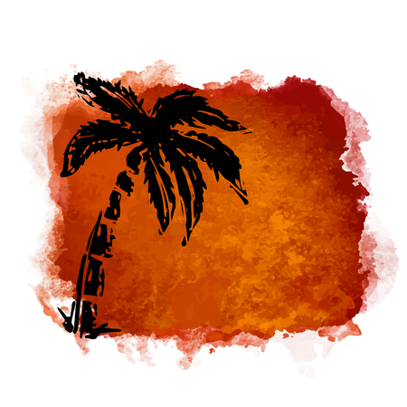 Vector watercolor coffee grunge geometric square paint stain with splash and hand drawn coconut palm tree closeup black silhouette. Painted frame design. Bright colors. Abstract art Banque d'images - 122800038