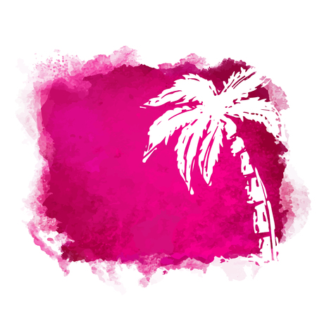 Vector watercolor red grunge geometric square paint stain with splash and hand drawn sketch coconut palm tree closeup white silhouette. Painted frame design. Bright colors. Abstract art