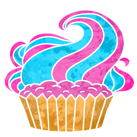 Watercolor colorful cupcake with cream closeup isolated on white background