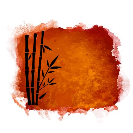 Watercolor square paint stain and bamboo trees closeup black silhouettes. Nature icon isolated on white background. Abstract art. Logo design Banque d'images - 122800041