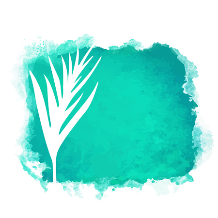 Vector watercolor green rectangle paint stain with splash and hand drawn palm branch with leaves closeup white silhouette. Painted frame design. Bright colors. Abstract art Banque d'images - 122800109