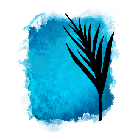 Vector watercolor blue rectangle paint stain with splash and hand drawn palm branch with leaves closeup black silhouette. Painted frame design. Bright colors. Abstract art Banque d'images - 122800112