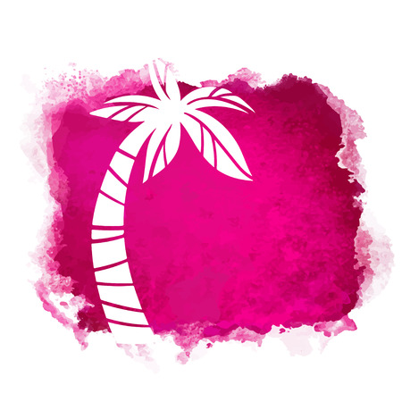 Vector watercolor red grunge geometric square paint stain with splash and hand drawn coconut palm tree closeup white silhouette. Painted frame design. Bright colors. Abstract art Banque d'images - 122800122