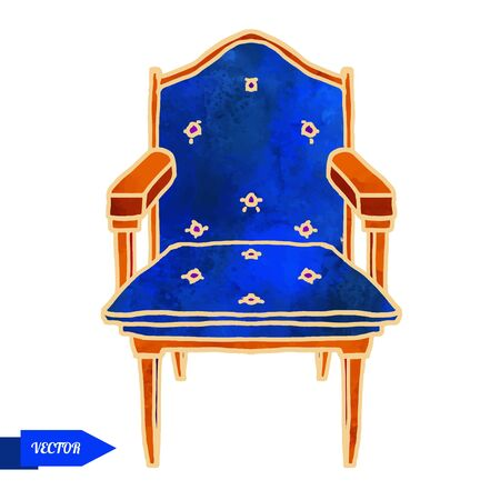 Watercolor vector vintage armchair closeup isolated on a white background Ilustracja