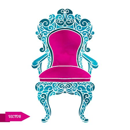 Watercolor vector vintage armchair, throne with pattern closeup isolated on a white background