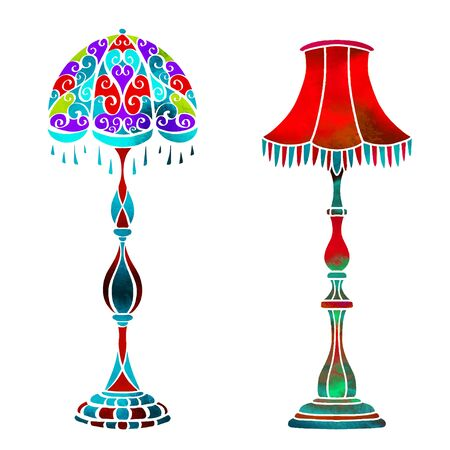 Watercolor vector vintage floor lamps set closeup isolated on a white background