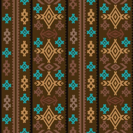 Aztec tribal art colorful seamless pattern. Ethnic mexican print. Folk border repeating background texture
