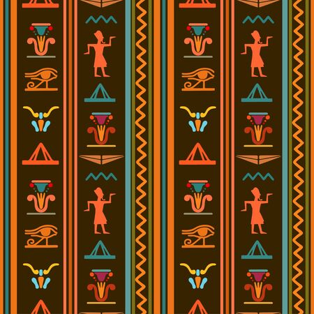Egyptian seamless pattern with Eye of Horus, Pharaoh, flowers, pyramid, wings. Egypt hieroglyphs. Tribal art repeating background texture. Cloth design. Wallpaper