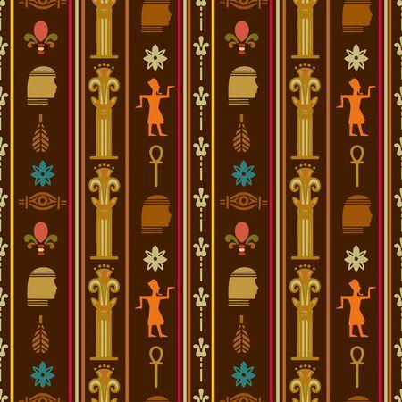 Egyptian seamless pattern. Egypt hieroglyphs. Tribal art repeating background texture. Cloth design. Wallpaper