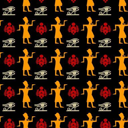 Egyptian seamless pattern with Eye of Horus, Pharaoh, scarab beetle. Egypt hieroglyphs. Tribal art repeating background texture. Cloth design. Wallpaper Stock Illustratie