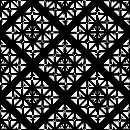 Abstract geometric seamless pattern with triangles in black and white. Monochrome repeating background texture
