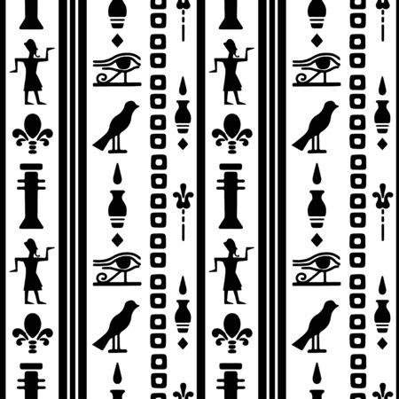 Egyptian seamless pattern with Eye of Horus, Pharaoh, flowers, bird. Egypt hieroglyphs. Tribal art repeating background texture. Cloth design. Wallpaper Stock Illustratie
