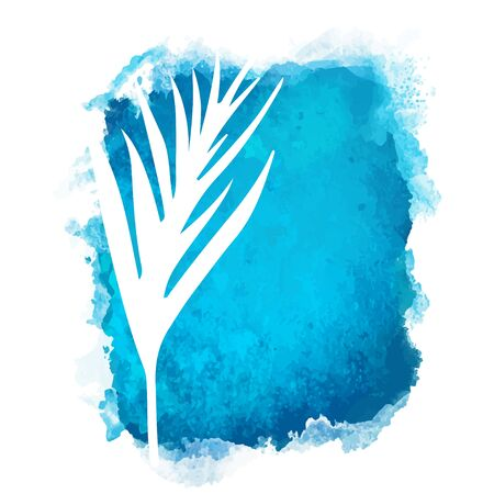 Vector watercolor blue rectangle paint stain with splash and hand drawn palm branch with leaves closeup white silhouette. Painted frame design. Bright colors. Abstract art