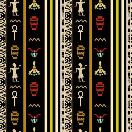 Egyptian seamless pattern. Egypt hieroglyphs. Tribal art repeating background texture. Cloth design. Wallpaper