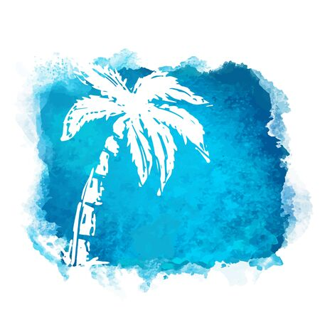 Vector watercolor blue grunge geometric square paint stain with splash and hand drawn sketch coconut palm tree closeup white silhouette. Painted frame design. Bright colors. Abstract art Ilustracja