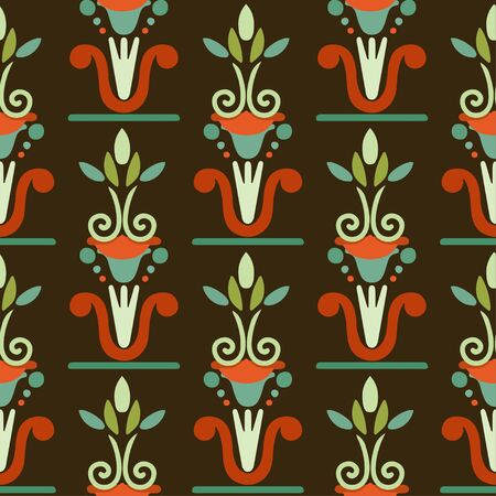 Seamless pattern egyptian floral silhouettes. Tribal art colorful repeating background texture. Cloth design. Wallpaper